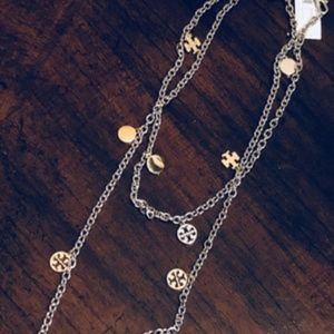 NWT TORY BURCH Gold/Slv Logo Charm Rosary Necklace